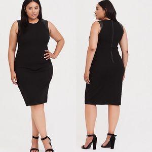 Torrid 3x Black Crepe & Faux Leather Dress